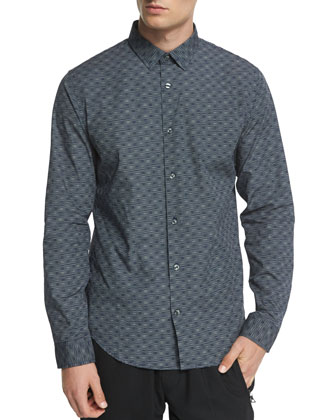 Melrose Printed Long-Sleeve Sport Shirt, Blue