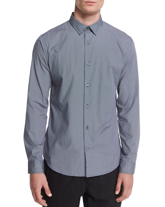 Melrose Micro-Print Sport Shirt, Navy