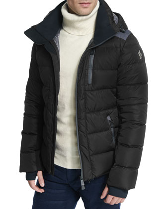 Soulare Quilted Down Puffer Jacket, Black