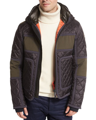 Braye Diamond-Quilted Down Jacket, Black