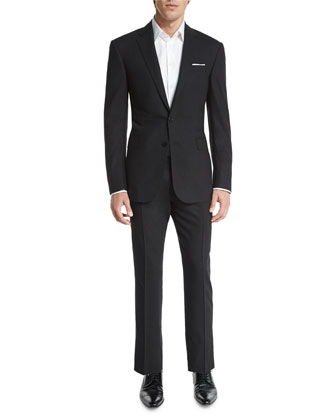 Anthony Solid Two-Piece Wool Suit, Charcoal