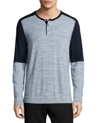 Colorblock Long-Sleeve Henley Shirt, Navy