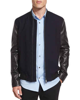 City Varsity Leather Bomber Jacket, Navy