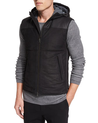 Nubuck Leather Hooded Vest, Thermal Knit Crewneck Shirt & Tollegno Urban ...