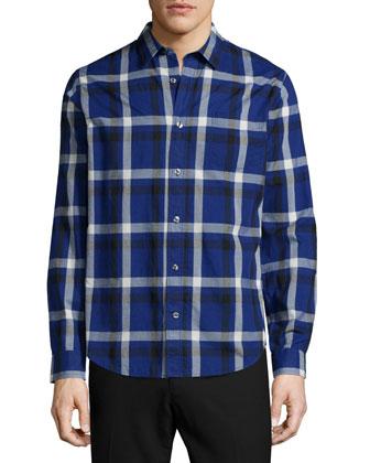 Melrose Plaid Long-Sleeve Sport Shirt, Blue