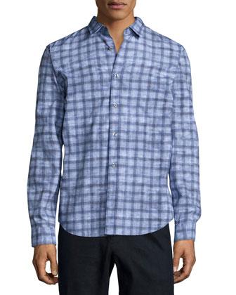 Melrose Printed Long-Sleeve Shirt, Light Blue