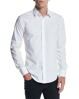 Long-Sleeve Stretch Poplin Shirt, White