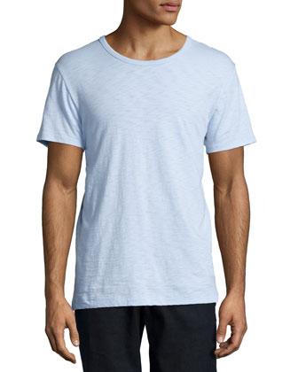 Short-Sleeve Slub Crewneck Tee, Light Blue