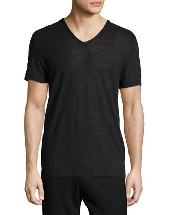 Short-Sleeve V-Neck Linen Tee, Black