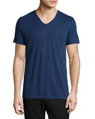 Short-Sleeve V-Neck T-Shirt, Blue