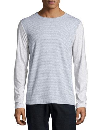 Feeder-Stripe Long-Sleeve Shirt, Gray/White