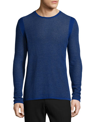 Thermal Knit Long-Sleeve T-Shirt, Blue