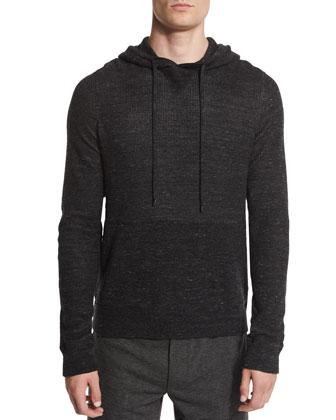 Jasper Thermal-Knit Pullover Hoodie, Black