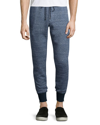 Double-Faced Melange Track Pants, Navy