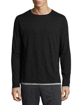 Double-Layer Crewneck T-Shirt, Black