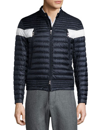 Foret Quilted Nylon Jacket with Contrast Stripe, Navy