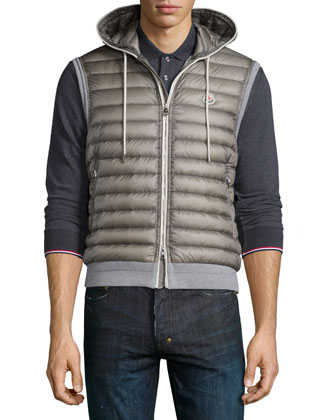 Quilted Nylon-Front Vest, Gray