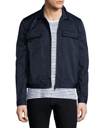 Tech Zip-Up Shirt Jacket, Navy