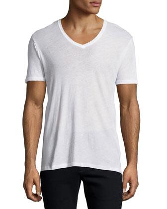 Short-Sleeve V-Neck Tee, White