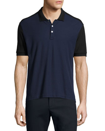 Colorblock Short-Sleeve Polo Shirt, Black/Navy