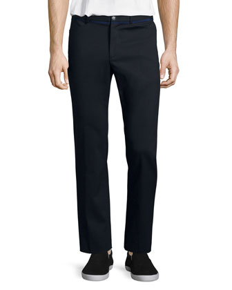Cotton-Nylon Stretch Pants, Black