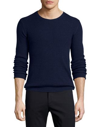 Waffle-Stitch Knit Crewneck Sweater, Navy