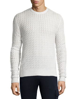 Melange Cable-Knit Sweater & Terry Pull-On Sweatpants
