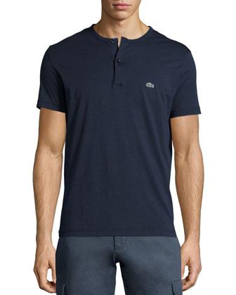 Short-Sleeve Henley Shirt, Navy