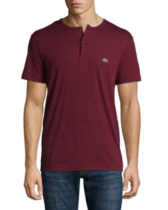 Short-Sleeve Henley Shirt, Dark Red