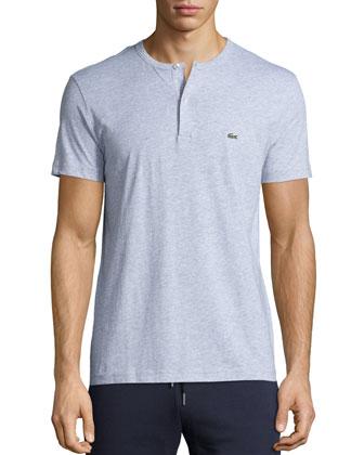 Short-Sleeve Henley Shirt, Gray