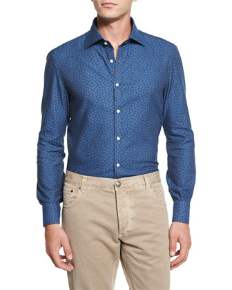 Check Two-Button Sport Coat, Mini Floral-Print Chambray Sport Shirt & ...