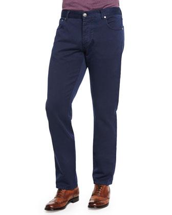 Short-Sleeve Silk-Blend Polo Shirt & Five-Pocket Straight-Leg Jeans