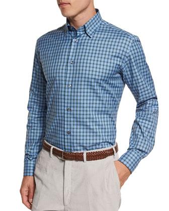 Check Long-Sleeve Sport Shirt, Light Blue/Green