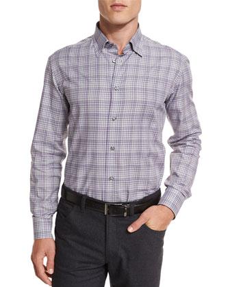 Check Long-Sleeve Sport Shirt, Gray/Purple