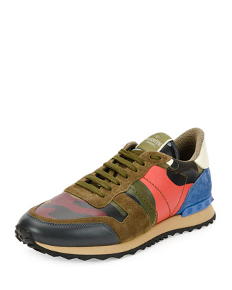 Men's Camo-Print Leather Trainer Sneaker, Coral