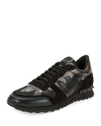 Rockrunner Metallic Camo-Print Trainer Sneaker, Black