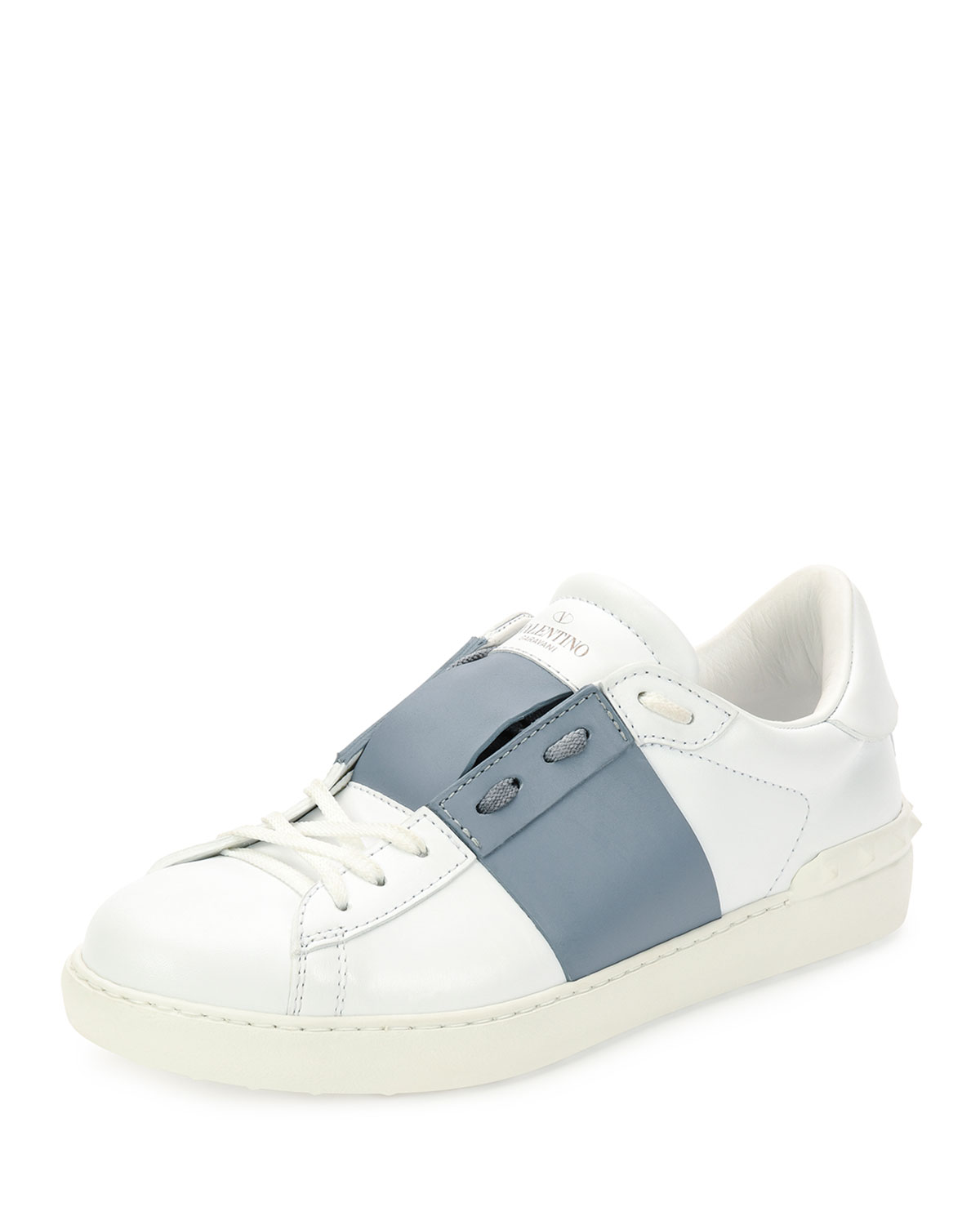 Leather Low-Top Sneaker with Stripe, White/Gray, Size: 40.5EU/7.5US, Wht/Grey - Valentino