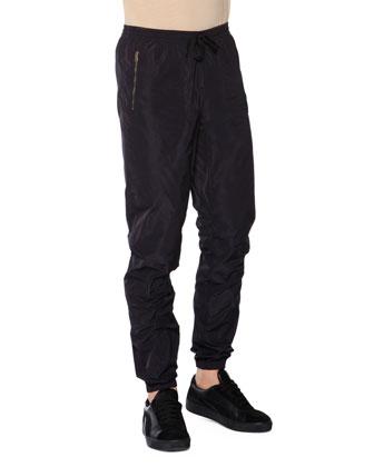 Nylon Drawstring Jogger Pants, Black