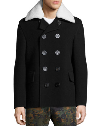 Double-Breasted Wool Coat with Shearling Fur Collar & Camo-Print Flat-Front ...