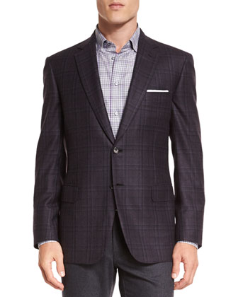 Plaid Two-Button Jacket, Check Long-Sleeve Sport Shirt & Five-Pocket ...