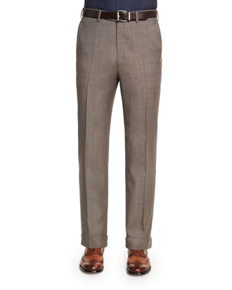 Sharkskin Flat-Front Wool Trousers, Tan