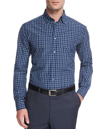 Graph-Check Long-Sleeve Sport Shirt, Aqua