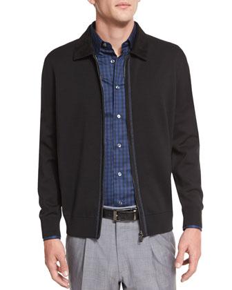 Full-Zip Jacket with Suede Trim, Black