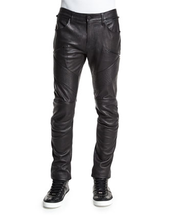 Orton Bearden Leather Moto Jeans, Black