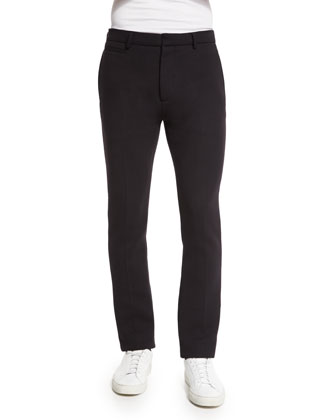 Sponge Straight-Leg Pique Trousers, Black