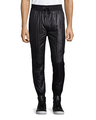 Quilted-Front Drawstring Track Pants, Black