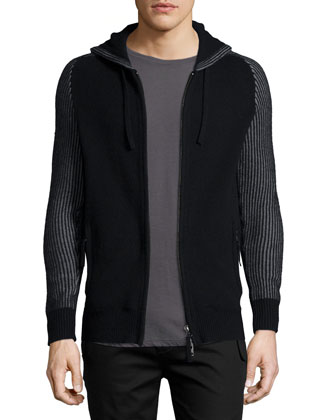 Zip-Front Hooded Cashmere Sweater, Black