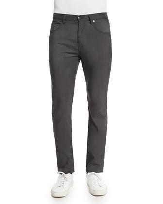 Five-Pocket Tech Canvas Straight-Leg Pants, Charcoal