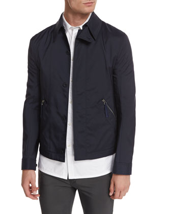 Tech Canvas Button-Down Club Jacket, Navy