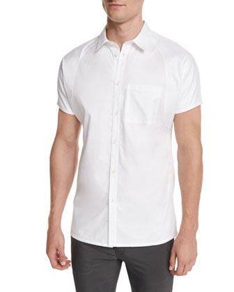 Cap-Sleeve Button-Front Shirt, White